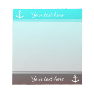 Gradient aqua red | white anchor notepad