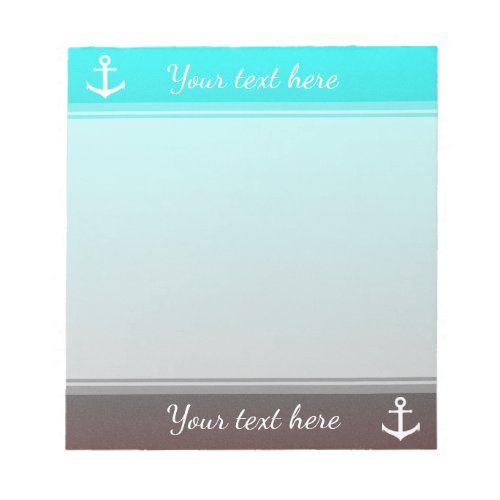 Gradient aqua red  white anchor notepad
