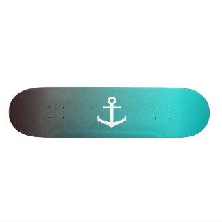 Gradient aqua red | white anchor skateboard deck