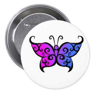 Gradient Bisexual Butterfly Pinback Button