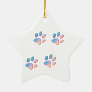 Gradient Blue Pink and Yellow Paw Prints Ceramic Ornament