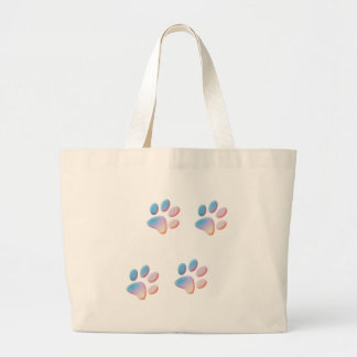 Gradient Blue Pink and Yellow Paw Prints Large Tote Bag