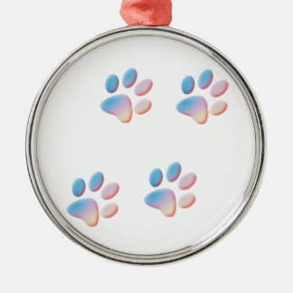 Gradient Blue Pink and Yellow Paw Prints Metal Ornament