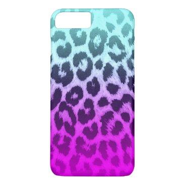 McTiffany Tiffany Aqua Gradient Blue Pink Cheetah Leopard Print iPhone 8 Plus/7 Plus Case