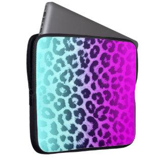 Gradient Blue Pink Cheetah Leopard Print Laptop Sleeve