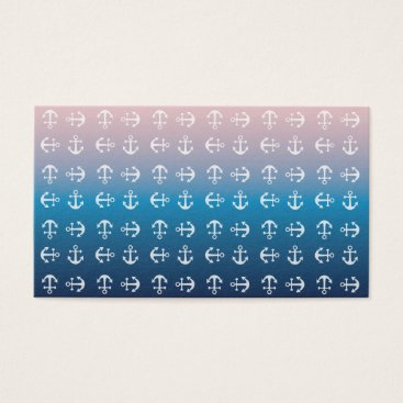 Beach Themed Gradient blue pink | nautical anchor pattern business card