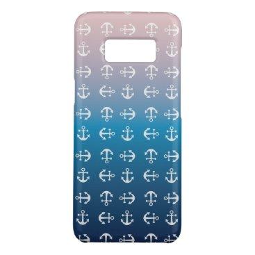 Beach Themed Gradient blue pink   nautical anchor pattern Case-Mate samsung galaxy s8 case