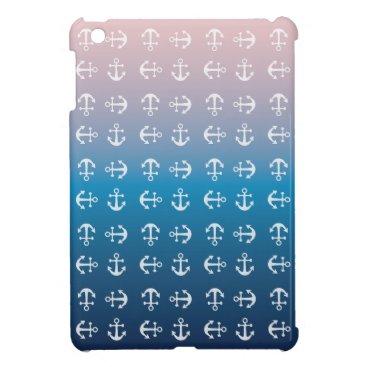 Beach Themed Gradient blue pink   nautical anchor pattern iPad mini covers