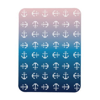Gradient blue pink | nautical anchor pattern magnet