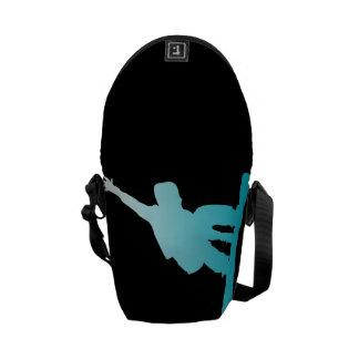 gradient blue snowboarder messenger bag