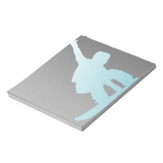 gradient blue snowboarder notepad