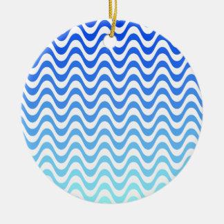 Gradient Blue Waves Ceramic Ornament