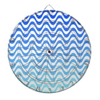 Gradient Blue Waves Dartboard With Darts