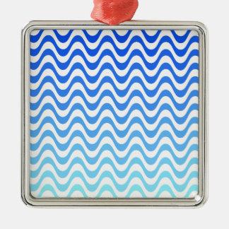 Gradient Blue Waves Metal Ornament