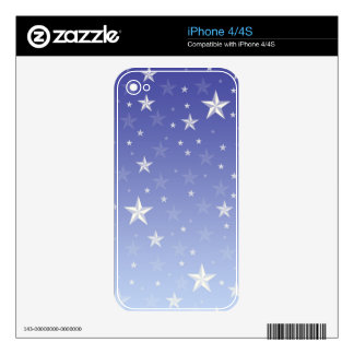 Gradient blue white stars pattern iPhone 4 skin
