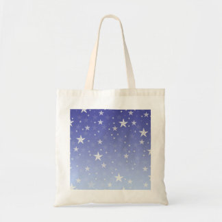 Gradient blue white stars pattern tote bag
