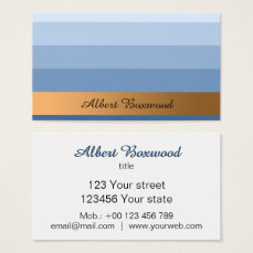 Gradient Blue with Golden Banner Custom Text Business Card