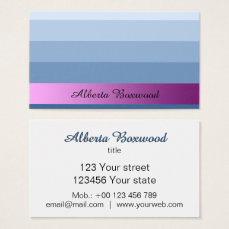 Gradient Blue with Pink Banner Custom Text Business Card