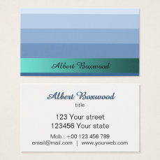 Gradient Blue with Teal Banner Custom Text Business Card