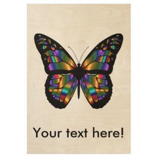Gradient butterfly cartoon wood poster