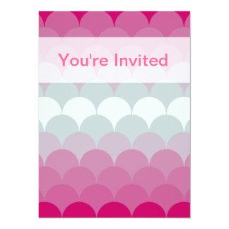 Gradient Cyan Magenta Scalloped Pattern Invites