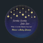 "Gradient Dark Blue Twinkle Little Star Party Plate<br><div class=""desc"">Twinkle twinkle little star, what a lovely miracle you are! These party plates comes with the classic rhyme. Design comes with strung up stars in yellow which is a nice contrast to the gradient dark blue background. Personalise easily with your party message. A great fit for baby showers! Text twinkle...</div>"
