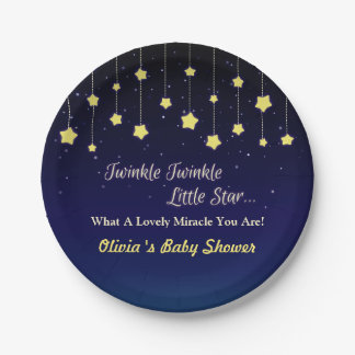 Gradient Dark Blue Twinkle Little Star Party Plate