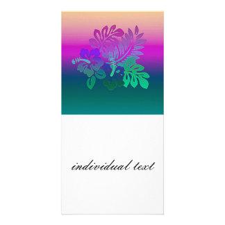 gradient flowers, aqua photo card