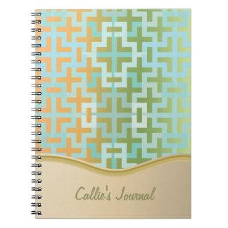 Gradient Green and Orange Geometric Crosses Spiral Notebook