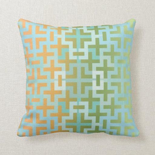 Gradient Green and Orange Geometric Crosses Throw Pillow
