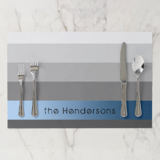Gradient Grey Stripes Custom Text Blue Banner Paper Placemat