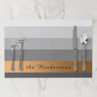 Gradient Grey Stripes Custom Text Golden Banner Paper Placemat
