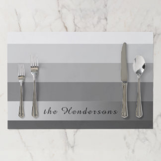Gradient Grey Stripes Custom Text Silver Banner Paper Placemat