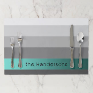 Gradient Grey Stripes Custom Text Teal Banner Paper Placemat