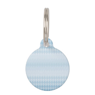 Gradient Ice Blue Harlequin Pattern Pet Name Tags