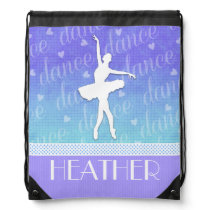Gradient of Blue - Ballerina Passionate Dancer Drawstring Backpack