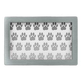 Gradient Paw Prints in Black & White & Gray Rectangular Belt Buckle