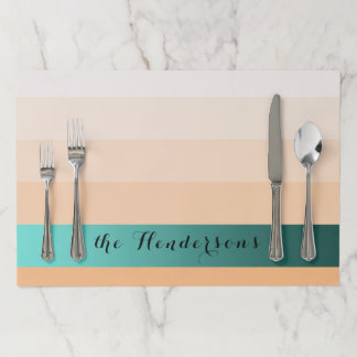 Gradient Peach Stripes Custom Text Teal Banner Paper Placemat