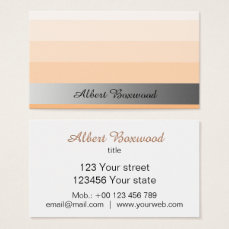 Gradient Peach with Silver Banner Custom Text Business Card