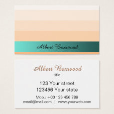Gradient Peach with Teal Banner Custom Text Business Card
