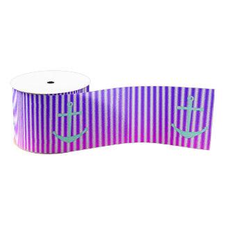 Gradient Pink Blue Teal Nautical Anchor Stripes Grosgrain Ribbon