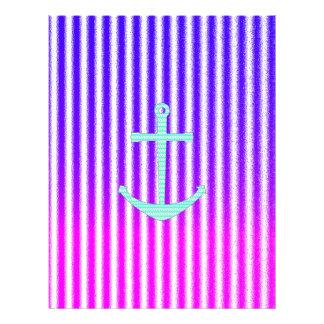 Gradient Pink Blue Teal Nautical Anchor Stripes Letterhead Template