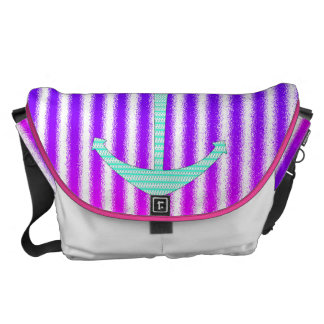Gradient Pink Blue Teal Nautical Anchor Stripes Messenger Bags
