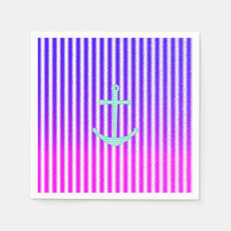 Gradient Pink Blue Teal Nautical Anchor Stripes Paper Napkin