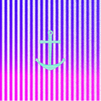 Gradient Pink Blue Teal Nautical Anchor Stripes Acrylic Cut Out