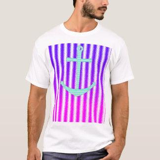Gradient Pink Blue Teal Nautical Anchor Stripes T-Shirt