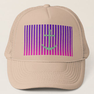 Gradient Pink Blue Teal Nautical Anchor Stripes Trucker Hat
