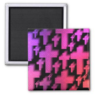 Gradient pink crosses magnet