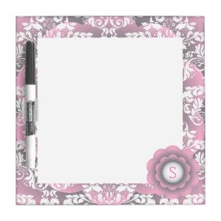 Gradient Pink & Gray Flower on Flower Damask Dry Erase Whiteboards