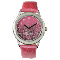 Gradient Pink Leopard Animal Print Wrist Watch